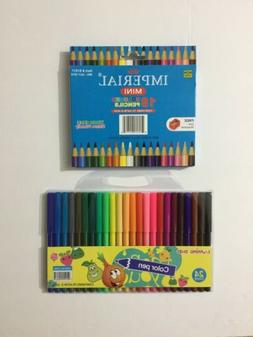 1 BOX WOOD FREE MINI 18 COLORED PENCILS WITH FREE SHARPNER +