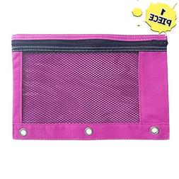 1 Pink Zippered Pencil Case by School Smarts - 3 Ring Pink P