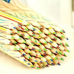10PCS Rainbow Color Pencil Wooden Colored Pencil Drawing Pai