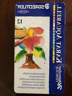 STAEDTLER 12 Assorted WATERCOLOR Colored Pencils GERMANY Tin
