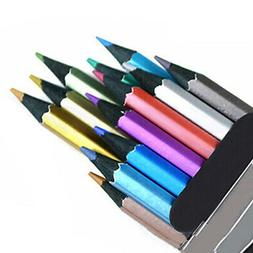 12PCS 12 Colors Metallic Non-Toxic Colored Drawing Pencils S