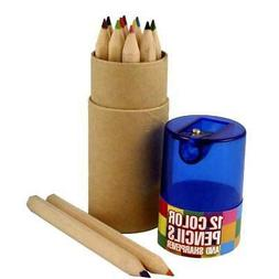 12 Colored Pencils And Sharpener - Set Of 2