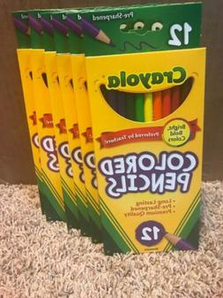 Crayola 12 Pack Pre-Sharpened Colored Pencils Lot of 6 Packs