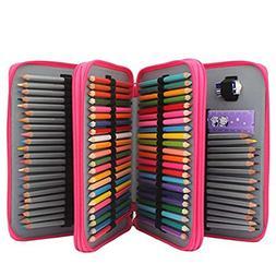 Soucolor 120-Slots PU Leather Pencil Case with Zipper, Rose