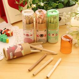 12pcs Cartoon Colored Pencil with Pencil Sharpener Painting