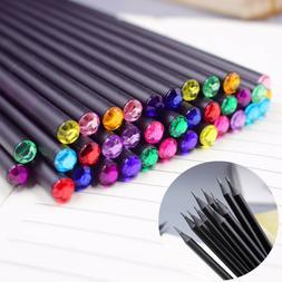 12Pcs Diamond Color Black Lead Pencils Drawing Stationery Sc