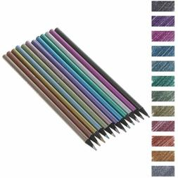12Pcs Metallic Non-Toxic Colored Drawing Pencils Drawing Ske
