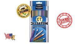 12Pcs Metallic Non-Toxic Colored Drawing Pencils 12 Colors D