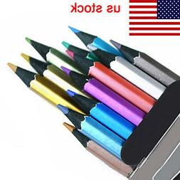 12x 12 Colors Metallic Non-Toxic Colored Drawing Pencils Ske