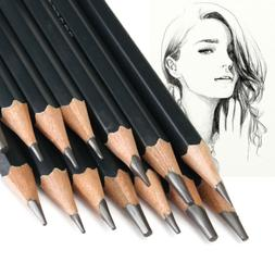 14Pc Black Sketch Drawing Pencil Set 12B 10B 8B 7B 6B 5B 4B