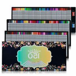 150 Unique Color Colored Pencils Set Art Drawing with Case S