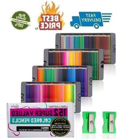 152 Colored Pencils Set with Sharpener Premium Soft Core Col