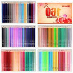 Soucolor 160 Colored Pencils Set Premium Soft Core Drawing P