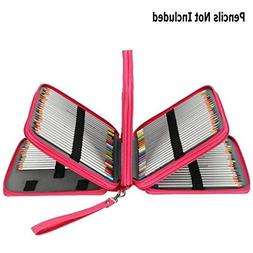 Soucolor 168 Slots Pencil Case PU Leather Handy Pencil Wrap