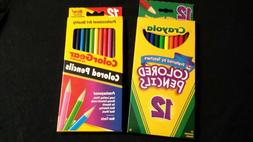 12 PACKS COLORED ART PENCILS CRAYOLA AND ROSEART NEW IN BOX
