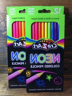CraZart NEON Colored Pencils - Non Toxic - Artist Quality -