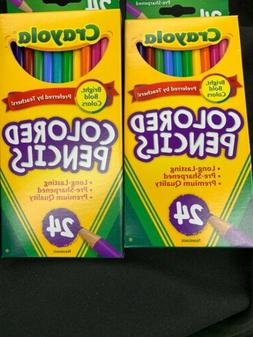 2 PACKS CRAYOLA COLORED PENCILS LONG 24ct