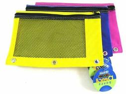 2 Pk, BAZIC Bright Color 3-Ring Pencil Pouch-Mesh Window, Gi