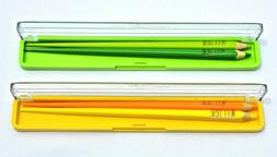 2 SETS WOODEN CHOPSTICK COLORED PENCILS IN PLASTIC CASES NEW