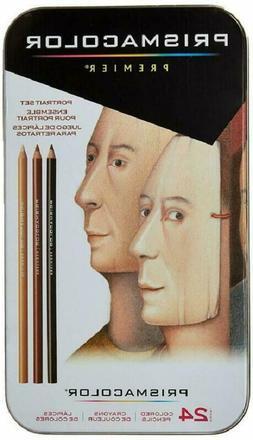 24 Count Colored Pencils Portrait Set Soft Core Smooth Paint