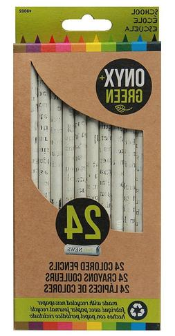 24 Pack Recycled Newspaper Colored Pencils Natural Color by