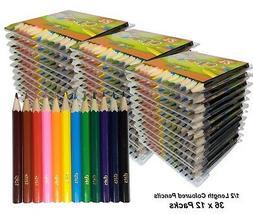 36 Packs x 12 Half 1/2 Length Colour / Coloured Pencils Roun