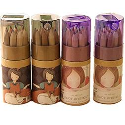 KitMax  4 Packs Cool Novelty Cute Girl Mini Colored Pencils