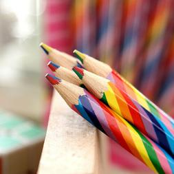 4pcs Set Rainbow Colored Pencil Wooden Painting Drawing Penc