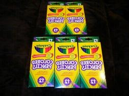 5 New Packages Nontoxic Crayola Colored 12 Pre-Sharpened Pen