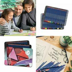 50 Lot Colored Pencils Art Supplies Set w/Tin Case Pre-Sharp