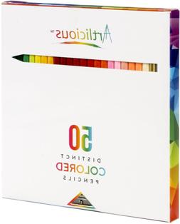 50 Premium Distinct Colored Pencils for Adult Coloring Books