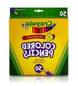 Crayola 50ct Long Colored Pencils 68-4050-USA Free Shipping