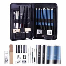 51pcs Drawing Artist Kit Travel Set Pencils Sketch Art Charc