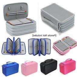 6 Colors Protable Nylon Pencil Case Set Brush Holder Bag Pen