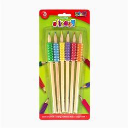 6 Pack Coloured Pencils Soft Comfort Grip Pencil Non-Toxic A