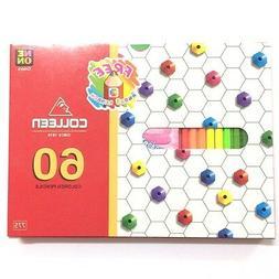 Colleen 60 Neon Color Pencil Sketch Craft Kid Art Hexagonal