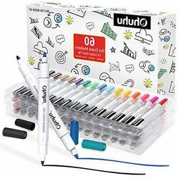 60 Pack Dry Erase Markers Pen Kit, Ohuhu Dual Tips 15 Assort