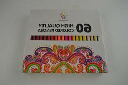 60 Unique Colors Premium Pre-sharpened Colored Pencils, 3.3m