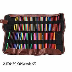 72 Colored Pencil Case Leather Storage Art Drawing Supplies