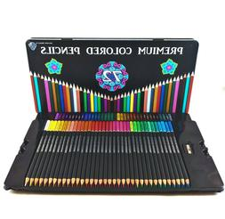 72 Colored Pencils Set in Storage Tin with Sharpener, Profes