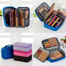 72 Slot Pencil Holder PU Leather Pencil Case Storage Bag for
