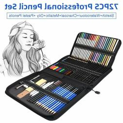 72pcs Drawing Sketch Pencils Set Colored Pencils Charcoal Ar