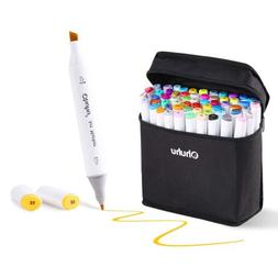 Ohuhu 80 Colors Dual Tips Permanent Marker Pens Art Markers