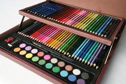 91Pcs Wooden Box Kit Colored Pencils Sketching Pencils Water