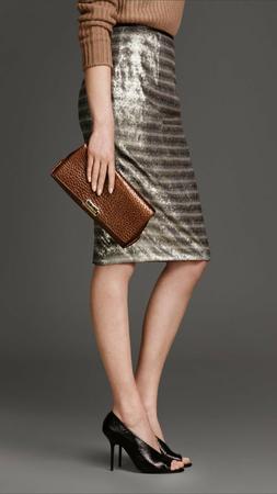 $950 Burberry London  Sequined Pencil Skirt  Caviar Color  U