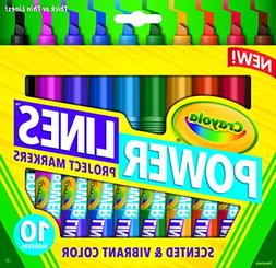 Crayola Power Lines, Washable Scented Markers, 10-Count, Vib