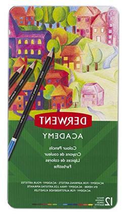 Derwent Academy Colored Pencils, 2.9mm Core, Metal Tin, 12 C