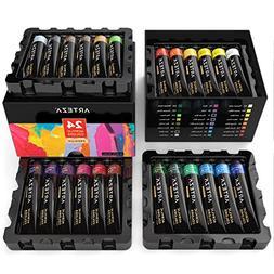 Arteza Acrylic Paint Set, 24 Colors/Tubes  with Storage Box,