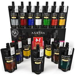 Arteza Acrylic Paint Set, 14 Colors/Pouches  with Storage Bo