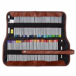 Art Coloured Pencils With Roll UP Canvas Pouch Package For A